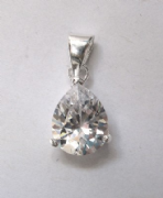 Sterling Silver Cubic Zirconia Pear Cut Pendant
